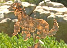 GOLDEN Retriever Dog Metal Copper Yard Art Plant Stake Outdoor Rustic Dog Pet Memorial Spike Sign Garden Marker Sculpture Patina Finish