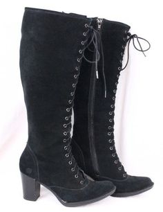BORN Sussex Black Leather Knee High Lace up Victorian Granny Zip Boots Women ~ Stupid zipper AGAIN!!