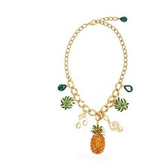 Dolce & Gabbana Tropicana crystal-embellished necklace ($1,495) ❤ liked on Polyvore featuring jewelry, necklaces, multi, palm tree jewelry, pineapple jewelry, charm necklace, dolce gabbana jewelry and pineapple necklace