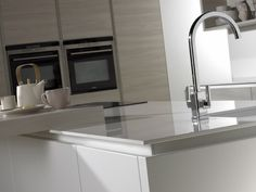Burbidge's Otto Kitchen in Bleached White and Matt White - Handlesless Rail in White