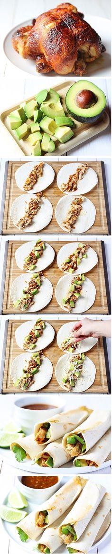 Chicken and Avocado Taquitos