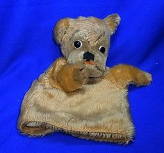 Vintage German Stuffed Animal Steiff Dog Hand Puppet without Button