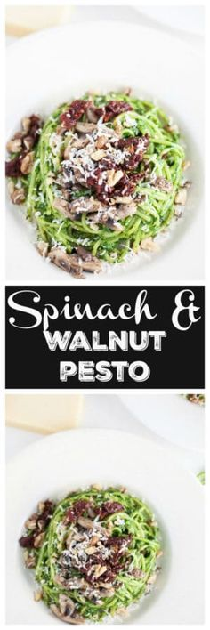 This Spinach and Walnut Pesto recipe makes a the perfect sauce for any type of pasta! It's healthy and easy enough for a weeknight dinner. It's great topped with chicken or shrimp and also makes a great sauce for pizza or a sandwich. It's full of spinach, basil, walnuts, and Parmesan cheese. This is a great versatile sauce to have on hand! #pesto #spinach #walnut #basil #pasta #easy