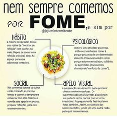 É muito importante entender quando sentimos fome! Se atente faça a leitura. Healthy Style, Healthy Lifestyle, Health Fitness, Food And Drink, Low Carb, Ethnic Recipes, Dieta Detox, Nutritional Recipes, Cbs Sports