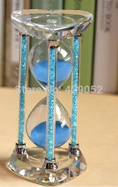 1314 seconds crystal sandglass blue color sand timer, wedding gifts/birthday gifts(China (Mainland))