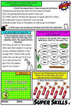 Our Super Literacy Skills Pack is a dynamic way to teach the literacy skills of the writing process: grammar, parts of speech, punctuation, vocabulary, spelling/word work, and sentence structure. Aligned to the NZ Curriculum and English Literacy Progressions for Year Five and Year Six, but also suitable for intermediate students.   Assessments, answer sheets and mini posters also provided. Vocabulary Sentences, Punctuation Worksheets, Grammar And Punctuation, Vocabulary Activities, Literacy Skills, Writing Skills, Expository Writing, Narrative Writing, Writing Process