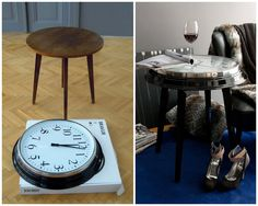 DIY Clock Table. Really good IKEA (or Walmart etc…) hack. Tutorial at Ikea Hackers here. *And you can still tell time.