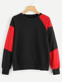 Color Block Tunic Pullover -SheIn(Sheinside) Ropa Retro 5ae2ead80ab