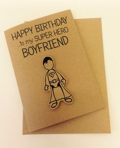 Cute hand made Superman Inspired Super Hero Boyfriend Birthday card                                                                                                                                                                                 Más