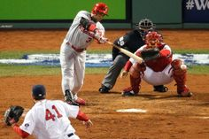 Carlos Beltran hits a RBI single in the seventh inning off pitcher John Lackey of the Boston Red Sox during Game Six of the 2013 World Series. Cards lost the game and the series 10-30-13