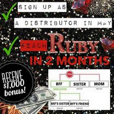 a few days left in this month to get qualified for the double Ruby bonus... what could an extra $1000 do for your family