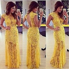 Hou&Tong® Women's Sexy Fashion Lace Crochet Maxi Bodycon Backless Mini Party Floral Club Short Sleeve Long Dresses - USD $ 128.00