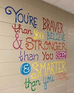 The inspirational quotes on the wall of this Alabama school are giving us all the feels - It's a Southern Thing School Hallways, School Murals, Art School, School Auction, School Stuff, School Decorations, School Themes, School Wall Decoration, School Ideas