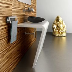 White console in stainless steel with ovale counter vessel mod. Cascara in black