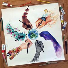'Artistic World' Collaboration Drawing - Vexx Art Scandy Girl Elia Pelle Jojoesart Pavneetdembhi Dino Tomic Various Medium 2016 http://ift.tt/2aXuP4K