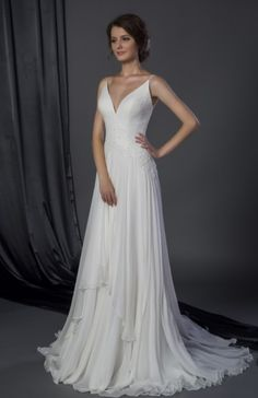 SHOW STOPPER!  Perfect fit and perfect pairing of silk chiffon, delicate spaghetti straps & tonal beading.  The plunging V opens up the neckline and is so flattering!  www.chicnostalgiabridal.com #bridal2016