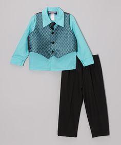 Loving this Aqua & Black Geo Vest Set - Infant, Toddler & Boys on #zulily! #zulilyfinds