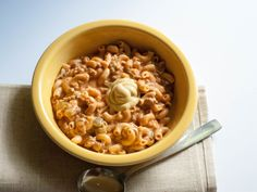 Thick and Creamy Cheeseburger Macaroni Soup.. reminds me of a burger on the grill with ketchup and mustard! 100% from scratch, no MSG, no preservatives!