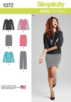 misses' easy to sew knit pants, skirt and top. dress up a simple sweatshirt with contrasting fabric in sequins or add jewels or studs. pair this top with a simple knit skirt or pants for a casual everyday office look.