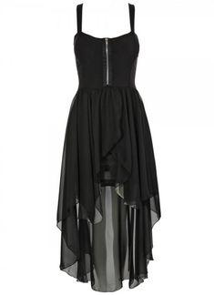 Black Little Black Dress - Black Chiffon High-Low Sleeveless Dress | UsTrendy