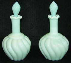 2 Fenton Vintage Swirl Perfume Bottles Green Pastel 7005 ca
