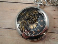 Steampunk Skeleton Wing Pocket Watch - Raven - Exposed Gears, via Etsy.