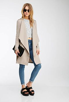 Draped-Lapel Trench Coat | Forever 21 Canada