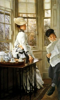 James Tissot (French, 1836-1902) - Reading the News (1874)