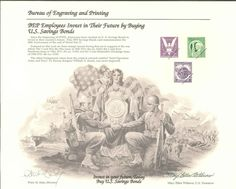 B198 BEP Souvenir Card 1995 US Savings Bonds 50th Anniversary end of WW2