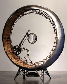 Pushed Around - by metal /kinetic sculptor Greg Brotherton Arte Assemblage, Steampunk Kunst, Sculpture Metal, Sculpture Ideas, Paper Sculptures, Arte Robot, Found Object Art, Kinetic Art, Scrap Metal Art