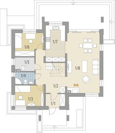 Rzut FA Memfis CE 2 Storey House Design, Home Fashion, Bungalow, House Plans, Floor Plans, How To Plan, House Styles, Houses, Home