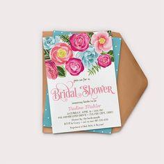 Printable Bridal Shower Invitation Floral by GreyStreetGraphics