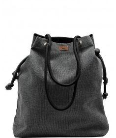 Tkaninowa torebka basic popiel z czarnymi sznurkami - me&BAGS
