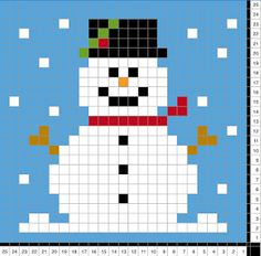 Emmaie: Frosty le bonhomme de neige - Projects to Try - Diy Abschnitt, Xmas Cross Stitch, Cross Stitching, Cross Stitch Embroidery, Christmas Knitting, Christmas Cross, Christmas Snowman, Crochet Christmas, Canvas Patterns, Quilt Patterns