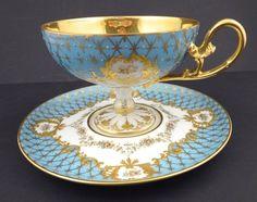 Outstanding Dresden Enameled Tea Cup & Saucer (item #1279402, detailed views)