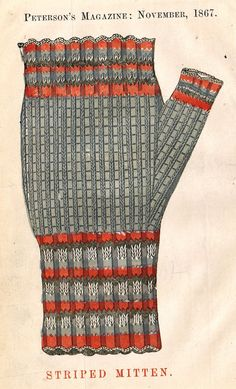 """Interesting decorative print from """"PETERSON'S MAGAZINE"""" published in New York in The image is about x 4 on a page that is about 9 x 5 Striped Mittens, Clothing Patterns, Men's Clothing, 19th Century Fashion, Vintage Knitting, Historical Clothing, Fashion Plates, Knitwear, Knit Crochet"""