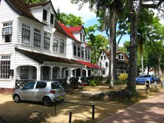 Paramaribo is like an old, colonial town. Beautiful, white, wooden houses and easy to walk around. Wooden Houses, South America, Colonial, Most Beautiful, Street View, Easy, Timber Homes, Timber House, Wood Houses