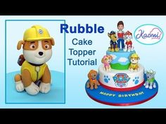 Zuma cake topper from Paw Patrol. In this cake decorating tutorial I show you how to make a Paw Patrol cake topper of Zuma, one of my favourite characters! Rubble Paw Patrol Cake, Skye Paw Patrol Cake, Ryder Paw Patrol, Paw Patrol Cake Toppers, Paw Patrol Party, Cake Topper Tutorial, Fondant Tutorial, Fondant Cake Toppers, Cupcake Cakes