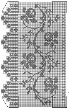 Easiest Crochet Frills Border Ever! Crochet Curtain Pattern, Crochet Curtains, Curtain Patterns, Crochet Tablecloth, Crochet Doilies, Filet Crochet Charts, Crochet Cross, Thread Crochet, Knit Or Crochet