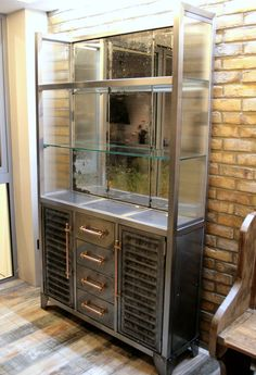 LARGE-VINTAGE-INDUSTRIAL-STYLE-CABINET-METAL-HABERDASHERY-WITH ...