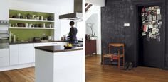 love the green wall behind simple white kitchen, LOVE the chalkboard door+wall.