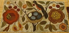 bird & nest hooked rug