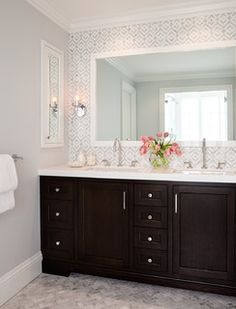 Wall color is Gray Tint from Benjamin Moore. Beautiful bathroom design from Rebecca Loewke Interiors