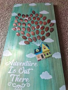 Disney UP Adventure Is Out There wooden pressed penny display 2 feet tall Adventure is out there! This is a Handmade, Handpainted, wall decor, wooden display for your pressed pennies. Wood is stained in a sky blue color (please note that all wood will var Cute Crafts, Crafts To Do, Crafts For Kids, Arts And Crafts, Disney Diy Crafts, Disney Crafts For Adults, Kids Diy, Diy Disney Gifts, Decor Crafts