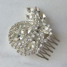 Rhinestone Hair Comb, Bridal Fascinator, Bridal Comb, Wedding Comb - MOONLIGHT. $46.00, via Etsy.