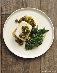 steamed cod with red currant sauce (fish, seafood) Chefs, Palak Paneer, A Table, Cod, Risotto, Seafood, Menu, Fish, Chicken