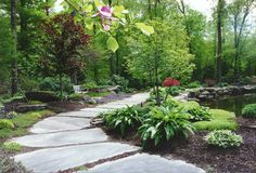 Natural landscaping and garden pathway on www.hickoryhollowlandscaper.......