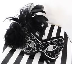Black and Silver Masquerade Ball Mask by jessicabissell on Etsy, £85.00