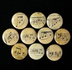 Musical Notes Set of 10 Buttons Pins Badges 1 inch