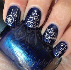 Christmas Nail Art Silver Merry Christmas Tree Stars Lights Use: 1-Trim,clean then paint your nails with the color you want. 2- cut out the pattern and plunge it into water for 10 - 20 seconds. (use w